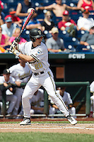 Vanderbilt Commodores outfielder Bryan Reynolds (20) at bat during the NCAA College baseball World Series against the Cal State Fullerton Titans on June 15, 2015 at TD Ameritrade Park in Omaha, Nebraska. Vanderbilt beat Cal State Fullerton 4-3. (Andrew Woolley/Four Seam Images)