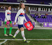 ORLANDO, FL - JANUARY 18: Becky Sauerbrunn #4 of the USWNT enters the field before a game between Colombia and USWNT at Exploria Stadium on January 18, 2021 in Orlando, Florida.