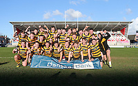 Monday 27th February 2017 | ULSTER SCHOOLS CUP SEMI-FINAL<br /> <br /> RBAI celebrate their victory after the Ulster Schools Cup Semi-Final between RBAI and Ballymena Academy  at Kingspan Stadium, Ravenhill Park, Belfast, Northern Ireland. <br /> <br /> Photograph by John Dickson | www.dicksondigital.com