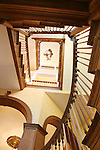 The stairwell in the Taylor Mansion, looking from the ground floor looking up to the third floor.  The house will be on the Dora Moore House Tour. The Taylor Mansion at 945 Pennsylvania Street received its Denver Landmark status in 1974. It is a house of arches and eights.  The current owners performed a complete renovation in 2001..