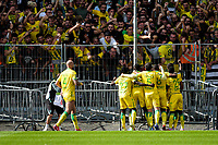19th September  2021; Angers, Pays de la Loire, France; French League 1 football Angers versus Nantes; Nantes players celebrate as Ludovic BLAS takes and scores from a  penalty kick