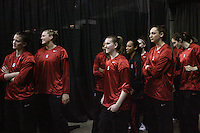 29 March 2008: Jillian Harmon, Jayne Appel, Candice Wiggins, Jeanette Pohlen, Melanie Murphy, Hannah Donaghe, Ashley Cimino, and Morgan Clyburn during Stanford's 72-53 win over Pitt in the sweet sixteen game of the NCAA Division 1 Women's Basketball Championship in Spokane, WA.