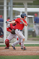 Boston Red Sox Chad De La Guerra (7) bats during a minor league Spring Training intrasquad game on March 31, 2017 at JetBlue Park in Fort Myers, Florida. (Mike Janes/Four Seam Images)
