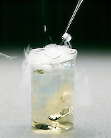 DRY ICE (SOLID CO2) SUBLIMATES & ACIDIFIES WATER<br /> (2 of 2)<br /> Demonstrated With Bromthymol Blue Indicator<br /> Solid carbon dioxide dropped in water with bromthymol blue indicator forms carbonic acid which changes the indicator color to yellow. White smoke is a mist of water droplets condensed from the air by cold CO2 gas.