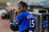 Biloxi Shuckers outfielder Troy Stokes, Jr. (15) waits on deck during a Southern League game against the Jackson Generals on July 27, 2018 at The Ballpark at Jackson in Jackson, Tennessee. Biloxi defeated Jackson 15-7. (Brad Krause/Four Seam Images)