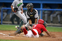 September 15 2008:  Jose Garcia of the Batavia Muckdogs, Class-A affiliate of the St. Louis Cardinals, slides in safely to Miguel Fermin during a game at Dwyer Stadium in Batavia, NY.  Photo by:  Mike Janes/Four Seam Images
