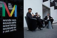 April 19, 2014 - Nathalie Bondil, Director and Curator, Museum of Fine Arts, Montreal (L), John Zeppetellim General Mangaer and Curaror, Museum of Contemporary Arts (M), Montreal and Stephane Aquin, Curator - Contemporary Arts at Museum of Fine Arts, Montreal present 1+ 1 = 1 ; a joint exhibit between the 2 Museums<br /> <br /> DE Gauche a Droite : Nathalie Bondil, directrice et conservatrice en chef du MBAM , John Zeppetelli, directeur general et conservateur en chef du MAC (M) et Stephane Aquin, conservateur de l'art contemporain au MBAM peésente une exposition mettant en scène un croisement entre les collections d'art contemporain des deux institutions : 1 + 1 = 1. Quand les collections du Musee des beaux-arts et du Musee d'art contemporain de Montreal conversent.