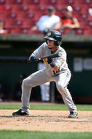 Burlington Bees shortstop Erick Salcedo (14) lays down a bunt during a game against the Kane County Cougars on August 20, 2014 at Third Bank Ballpark in Geneva, Illinois.  Kane County defeated Burlington 7-3.  (Mike Janes/Four Seam Images)