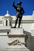 AJ2331, Puerto Rico, San Juan, Caribbean, Ponce de Leon, Old San Juan, Porto Rico, Caribbean Islands, Statue of Ponce de Leon at San Jose Church the second oldest church in the Western Hemisphere in Old San Juan, Puerto Rico.