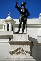 AJ2331, Puerto Rico, San Juan, Caribbean, Ponce de Leon, Old San Juan, Porto Rico, Caribbean Islands, Statue of Ponce de Leon at San Jose Church the second oldest church in the Western Hemisphere in Old San Juan, Puerto Rico.