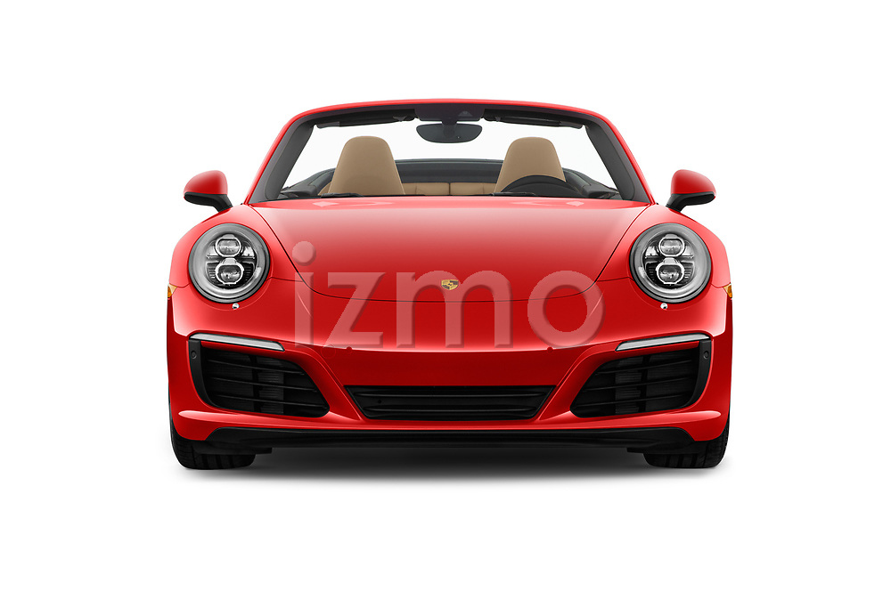 Car photography straight front view of a 2018 Porsche 911 Carrera 2 Door Convertible Front View
