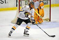 3 January 2009: University of Vermont Catamount defenseman Drew MacKenzie, a Freshman from New Canaan, CT, in action against the St. Lawrence Saints during the championship game of the Catamount Cup Ice Hockey Tournament at Gutterson Fieldhouse in Burlington, Vermont. The Cats defeated the Saints 4-0 and won the tournament for the second time since its inception in 2005...Mandatory Photo Credit: Ed Wolfstein Photo