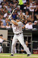 Detroit TIgers infielder Jhonny Peralta (27) during a game vs. the Chicago White Sox at U.S. Cellular Field in Chicago, Illinois August 13, 2010.   Chicago defeated Detroit 8-4.  Photo By Mike Janes/Four Seam Images