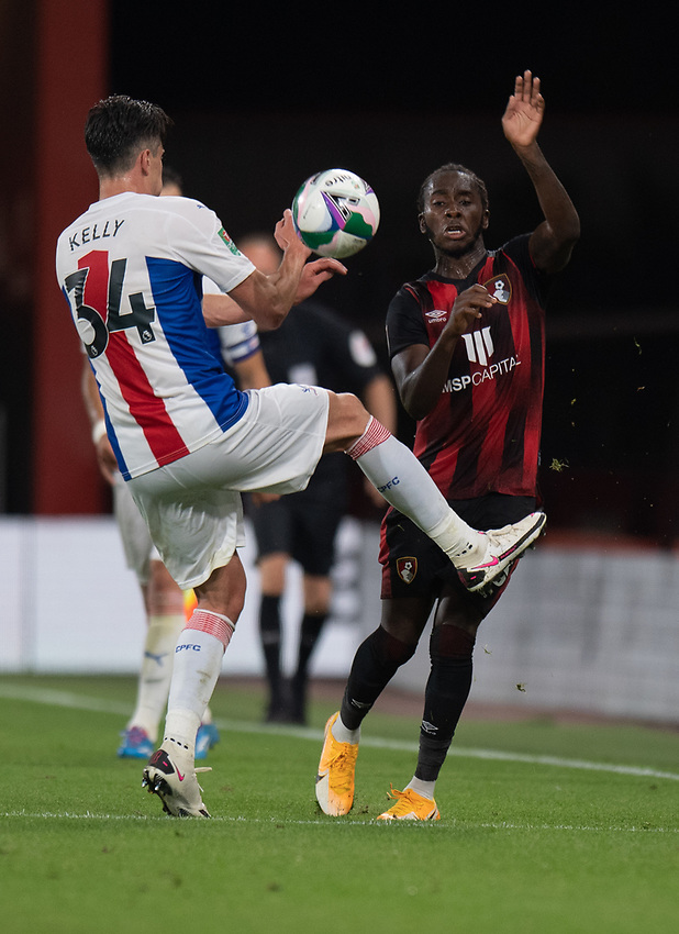 Bournemouth's Jordon Zemura (right) battles for possession with Crystal Palace's Martin Kelly (left) <br /> <br /> Photographer David Horton/CameraSport<br /> <br /> Carabao Cup Second Round Southern Section - Bournemouth v Crystal Palace - Tuesday 15th September 2020 - Vitality Stadium - Bournemouth<br />  <br /> World Copyright © 2020 CameraSport. All rights reserved. 43 Linden Ave. Countesthorpe. Leicester. England. LE8 5PG - Tel: +44 (0) 116 277 4147 - admin@camerasport.com - www.camerasport.com