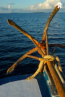 Rusty anchor on back of boat, close up Maldives (Licence this image exclusively with Getty: http://www.gettyimages.com/detail/74583321 )