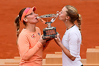11th October 2020, Roland Garros, Paris, France; French Open tennis, Womens Doubles final 2020; Timea BabHun and Kristina Mladenovic Fra with their winners trophy