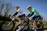 British Champion Ben Swift (ENG) Ineos Grenadiers and Green Jersey Sam Bennett (IRL) Deceuninck-Quick Step during Stage 4 of Paris-Nice 2021, running 187.5km from Chalon-sur-Saone to Chiroubles, France. 10th March 2021.<br /> Picture: ASO/Fabien Boukla | Cyclefile<br /> <br /> All photos usage must carry mandatory copyright credit (© Cyclefile | ASO/Fabien Boukla)
