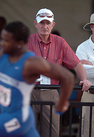 Arkansas Democrat-Gazette/MICHAEL WOODS<br /><br />University of Arkansas coach John McDonnell watches the sprints during Friday afternoons NCAA Division 1 2008 Outdoor Track and Field MidEast Regional at John McDonnell Field in Fayetteville Arkansas.<br /><br />5/30/08