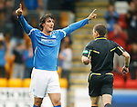 St Johnstone v Livingston...24.08.11   Scottish Communities League Cup Round 2.Francsico Sandaza celebrates his first goal saints second.Picture by Graeme Hart..Copyright Perthshire Picture Agency.Tel: 01738 623350  Mobile: 07990 594431