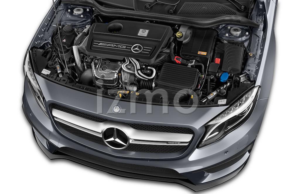 Car Stock 2015 Mercedes Benz GLA-KLASSE AMG 5 Door SUV Engine high angle detail view