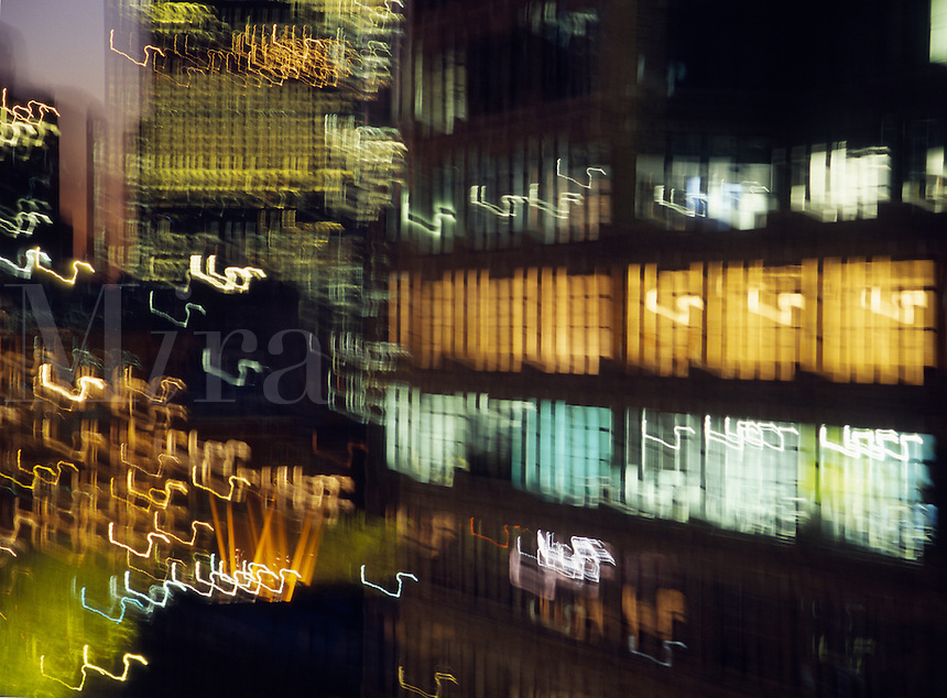 Blurred city lights at night.
