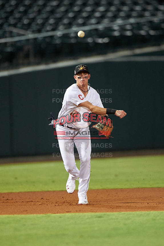 Mesa Solar Sox third baseman Nolan Jones (10), of the Cleveland Indians organization, throws to first base during an Arizona Fall League game against the Scottsdale Scorpions on September 18, 2019 at Sloan Park in Mesa, Arizona. Scottsdale defeated Mesa 5-4. (Zachary Lucy/Four Seam Images)