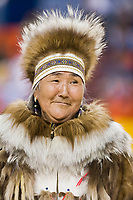 Marie Meaded, Yupik Parka, Eskimo and Indian Regalia contest at the 2007 World Eskimo Indian Olympics held in Anchorage, Alaska.