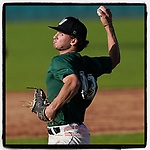Ben Brock (13) of the University of South Carolina Upstate Spartans Green team delivers a pitch in the Green and Black Fall World Series Game 3 on Sunday, November 1, 2020, at Cleveland S. Harley Park in Spartanburg, South Carolina. Green won, 3-2. (Tom Priddy/Four Seam Images)
