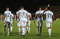 BUCARAMANGA – COLOMBIA, 03-02-2020: Fausto Vera de Argentina celebra después de anotar el segundo gol de su equipo durante partido entre Argentina U-23 y Uruguay U-23 por el cuadrangular final como parte del torneo CONMEBOL Preolímpico Colombia 2020 jugado en el estadio Alfonso Lopez en Bucaramanga, Colombia. / Fausto Vera of Argentina celebrates after scoring the second goal of his team during the match between Argentina U-23 and Uruguay U-23 for for the final quadrangular as part of CONMEBOL Pre-Olympic Tournament Colombia 2020 played at Alfonso Lopez stadium in Bucaramanga, Colombia. Photo: VizzorImage / Jaime Moreno / Cont