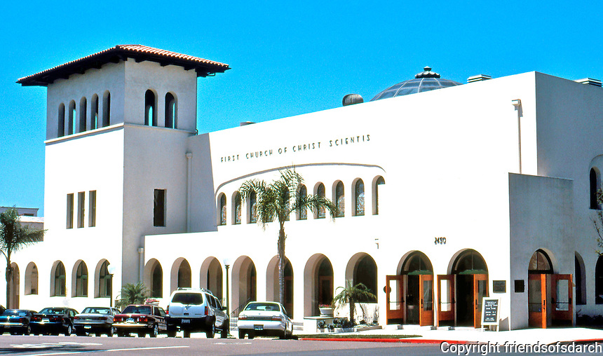 Irving Gill: First Church of Christ Scientist, 1909-1910. Second and Laurel, San Diego. Mission style.(Restored 1998) Photo 2000.