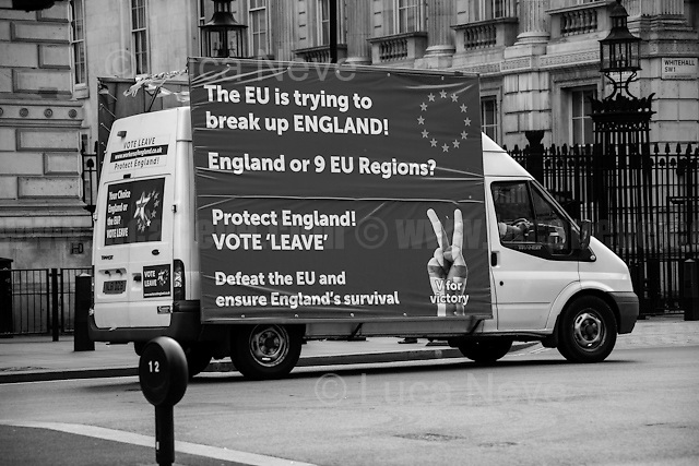 """London, March-July 2016. Reporting the EU Referendum 2016 (Campaign, result and outcomes) observed through the eyes (and the lenses) of an Italian freelance photojournalist (UK and IFJ Press Cards holder) based in the British Capital with no """"press accreditation"""" and no timetable of the main political parties' events in support of the RemaIN Campaign or the Leave the EU Campaign.<br /> On the 23rd of June 2016 the British people voted in the EU Referendum... (Please find the caption on PDF at the beginning of the Reportage).<br /> <br /> For more information about the result please click here: http://www.bbc.co.uk/news/politics/eu_referendum/results"""