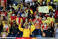 PEREIRA - COLOMBIA, 10–08-2021: Hinchas de Deportivo Pereira animan a su equipo durante partido de la fecha 4 entre Deportivo Pereira y Envigado F. C. por la Liga BetPlay DIMAYOR II 2021, jugado en el estadio Hernan Ramirez Villegas de la ciudad de Pereira. / Fans of Deportivo Pereira cheer for their team during match of 4th date between Deportivo Pereira and Envigado F. C. for the BetPlay DIMAYOR II 2021 League played at the Hernan Ramirez Villegas in Pereira city. / Photo: VizzorImage / Pablo Bohorquez / Cont.