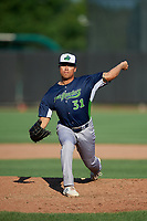 Vermont Lake Monsters pitcher Jorge Martinez (31) during a NY-Penn League game against the Aberdeen IronBirds on August 18, 2019 at Leidos Field at Ripken Stadium in Aberdeen, Maryland.  Vermont defeated Aberdeen 6-5.  (Mike Janes/Four Seam Images)