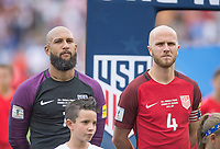 Commerce City, CO - Thursday June 08, 2017: Tim Howard, Michael Bradley during a 2018 FIFA World Cup Qualifying Final Round match between the men's national teams of the United States (USA) and Trinidad and Tobago (TRI) at Dick's Sporting Goods Park.