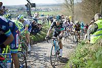 Michal Kwiatkowski (POL/SKY) up the infamous Koppenberg<br /> <br /> 100th Ronde van Vlaanderen 2016