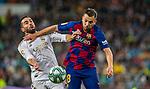 Real Madrid CF's Dani Carvajal and FC Barcelona's defense Jordi Alba competes for the ball during La Liga match. Mar 01, 2020. (ALTERPHOTOS/Manu R.B.)
