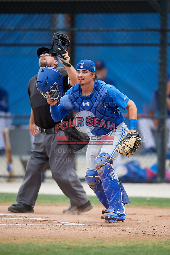Toronto Blue Jays catcher Reese McGuire during a Minor League Spring Training Intrasquad game on March 31, 2018 at Englebert Complex in Dunedin, Florida.  (Mike Janes/Four Seam Images)