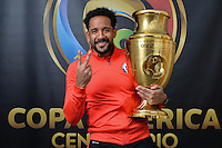 East Rutherford, NJ - Sunday June 26, 2016: Jean Beausejour, Copa America trophy after a Copa America Centenario finals match between Argentina (ARG) and Chile (CHI) at MetLife Stadium.
