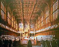 House of Lords, the upper house of the Parliament of the United Kingdom, 1851. Designed by A.W. Pugin. Meets in the Palace of Westminster.