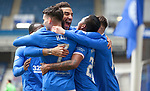 06.03.2021 Rangers v St Mirren: Alfredo Morelos scores for Rangers and celebrates with Connor Goldson