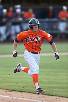 Timmy Richards (13) of the Cal State Fullerton Titans runs to first base during a game against the Cal Poly Mustangs at Goodwin Field on April 2, 2015 in Fullerton, California. Cal Poly defeated Cal State Fullerton, 5-0. (Larry Goren/Four Seam Images)