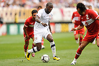 Jozy Altidore (17) of the United States during an international friendly between the men's national teams of the United States (USA) and Turkey (TUR) at Lincoln Financial Field in Philadelphia, PA, on May 29, 2010.