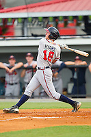 Levi Hyams (18) of the Danville Braves follows through on his swing against the Burlington Royals at Burlington Athletic Park on July 18, 2012 in Burlington, North Carolina.  The Royals defeated the Braves 4-3 in 11 innings.  (Brian Westerholt/Four Seam Images)