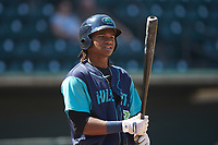 Oscar Gonzalez (39) of the Lynchburg Hillcats at bat against the Winston-Salem Rayados at BB&T Ballpark on June 23, 2019 in Winston-Salem, North Carolina. The Hillcats defeated the Rayados 12-9 in 11 innings. (Brian Westerholt/Four Seam Images)