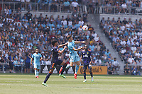 ST PAUL, MN - JULY 18: Wil Trapp #20 of Minnesota United FC goes up to head the ball during a game between Seattle Sounders FC and Minnesota United FC at Allianz Field on July 18, 2021 in St Paul, Minnesota.