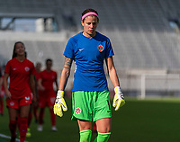 ORLANDO, FL - FEBRUARY 24: Stephanie Labbe #1 of Canada walks off the field before a game between Brazil and Canada at Exploria Stadium on February 24, 2021 in Orlando, Florida.