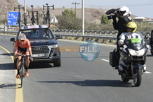 The breakaway group during Stage 4 The Municipality Stage of the Dubai Tour 2018 the Dubai Tour's 5th edition, running 172km from Skydive Dubai to Hatta Dam, Dubai, United Arab Emirates. 9th February 2018.<br /> Picture: LaPresse/Fabio Ferrari   Cyclefile<br /> <br /> <br /> All photos usage must carry mandatory copyright credit (© Cyclefile   LaPresse/Fabio Ferrari)