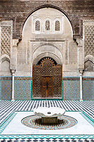 Fes, Morocco.  Attarine Medersa, 14th. Century, Inner Courtyard, Fes El-Bali.