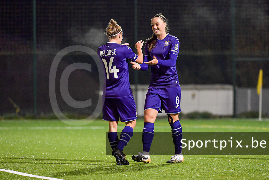 Anderlecht defender Laura Deloose (14) celebrate the goal of Anderlecht midfielder Tine De Caigny (6) during a female soccer game between RSC Anderlecht Dames and Eendracht Aalst Ladies  on the fourth matchday of the 2020 - 2021 season of Belgian Womens Super League , Tuesday 13 th of October 2020  in ANDERLECHT , Belgium . PHOTO SPORTPIX.BE | SPP | STIJN AUDOOREN