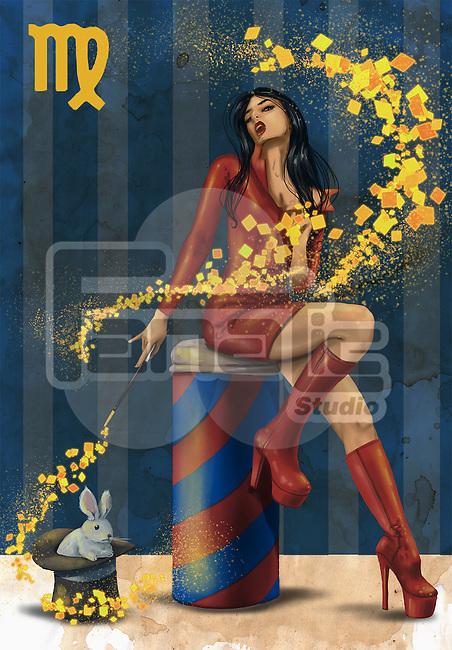 Illustrative image of female magician representing Virgo sign